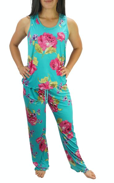 Enchanted Teal Slinky Cooling Pajama Pants Set