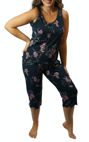 Forest Bouquet Slinky Cooling Pajama Capris Pants Set
