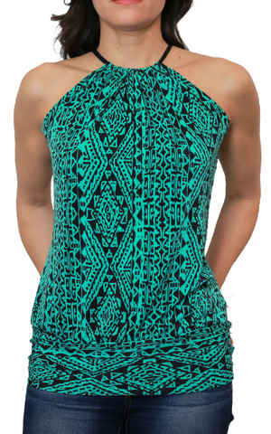 Green Tribal Spaghetti Top