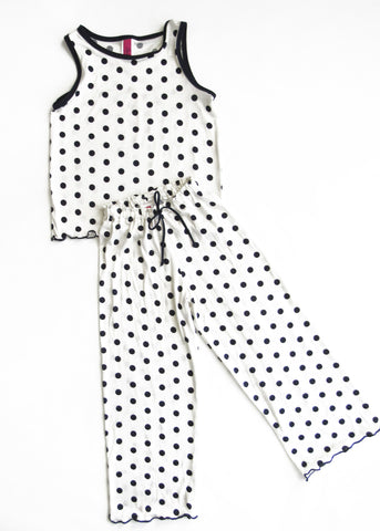 Navy Polka Dots Kids Pajama Pants Set