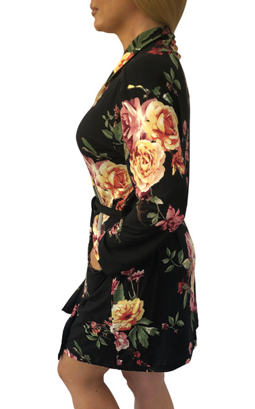 Black Floral Cozy Robe