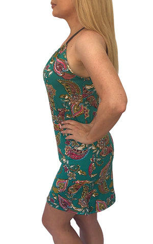 Green Paisley Spaghetti Dress