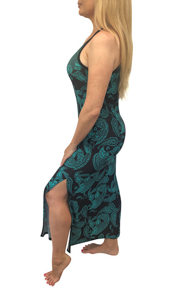 Green Black Paisley Cami Maxi Dress w/Pockets