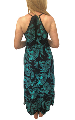Green Black Paisley Sheer Maxi Swimsuit Cover Up w/Pockets