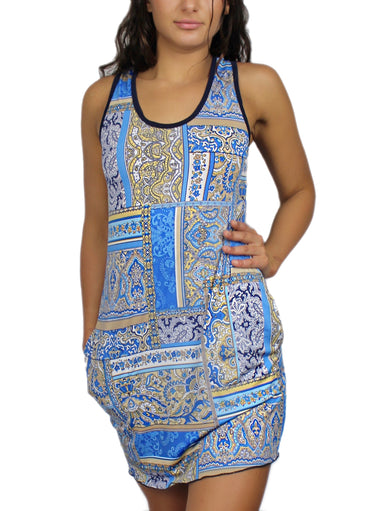 It Blue Handkercheif Sporty Tank Dress w/ Pockets