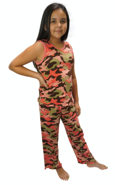 Blush Camo Cozy Kids Pajama Pants Set