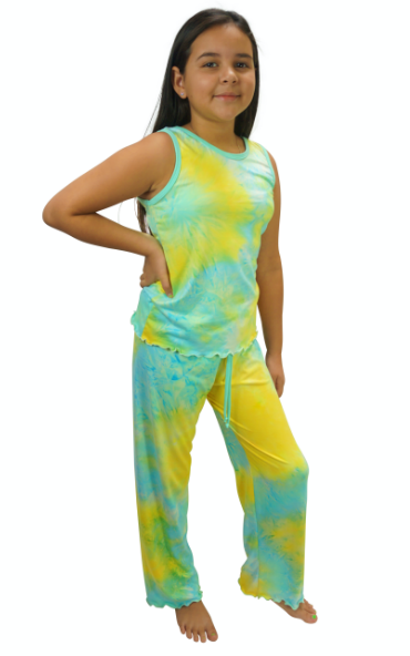 Mint Julep Tye Dye Cozy Kids Pajama Pants Set