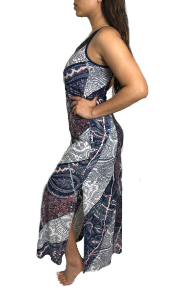 Mosaic Paisley Maxi Swimsuit Cover Up w/Pockets