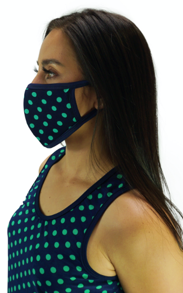 Navy Polka Dots Mask