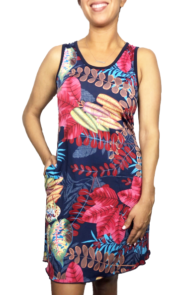 Navy Tropics Sporty Tank Dress w/ Pockets