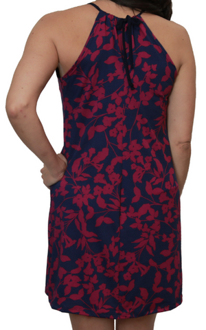 Navy Magenta Oleander Spaghetti Dress