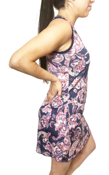 Navy & Pink Floral Paisley Sporty Tank Dress w/ Pockets