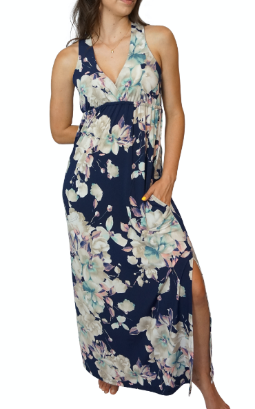 Blooming Navy Newport Maxi Dress with Pockets