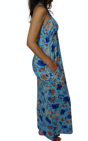 Sky Blue Floral Newport Maxi Dress with Pockets