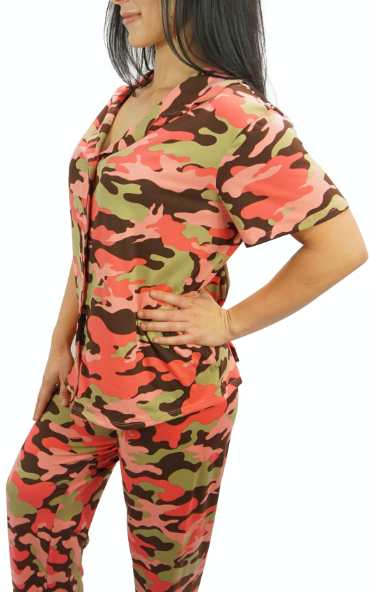 Blush Camo Cozy Pajama Button Top