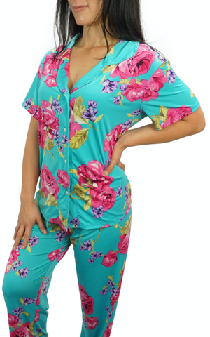 Enchanted Teal Slinky Cooling Pajama Button Top