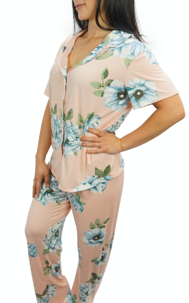 Rose Blue Cozy Pajama Button Top