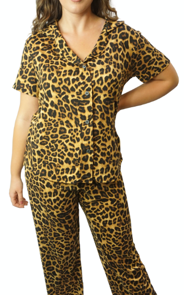 Cozy Leopard Pajama Button Top