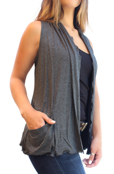 Dark Grey Cardigan Vest
