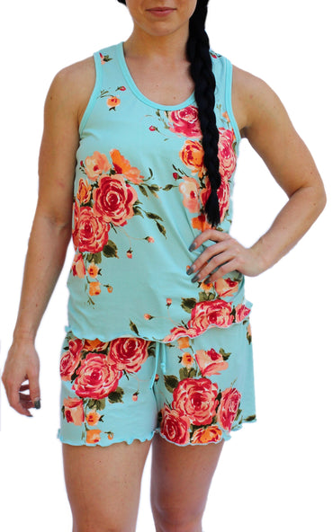 Teal Rose Cozy Pajama Boxer Set