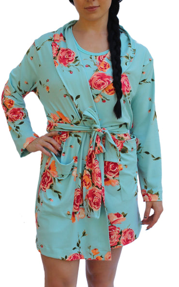 Teal Rose Robe