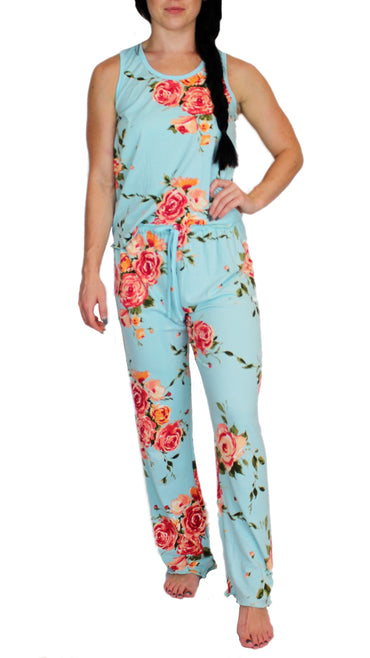 Teal Rose Pajama Pants Set