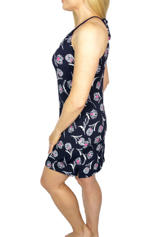 Touch of Pink (Dark Navy) Spaghetti Dress