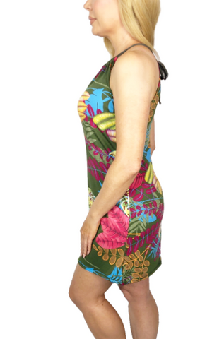 Tropical Palm Spaghetti Dress