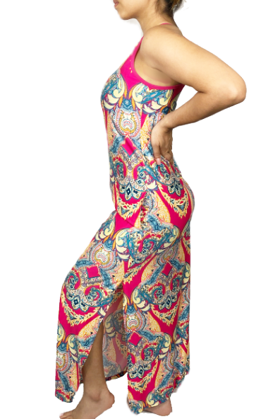 Wild Pink Paisley Maxi Swimsuit Cover Up w/Pockets