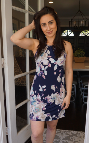 Blooming Navy Spaghetti Dress