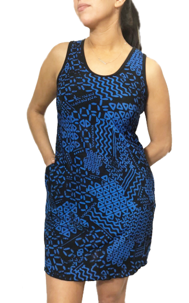 Royal Blue Tribe Sporty Tank Dress w/ Pockets
