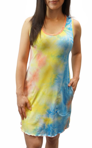 Classic Tie Dye Sporty Tank Dress w/ pockets