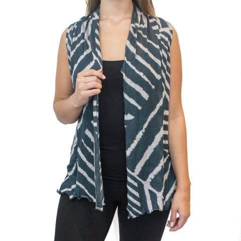 Front Green White Stripe Vest