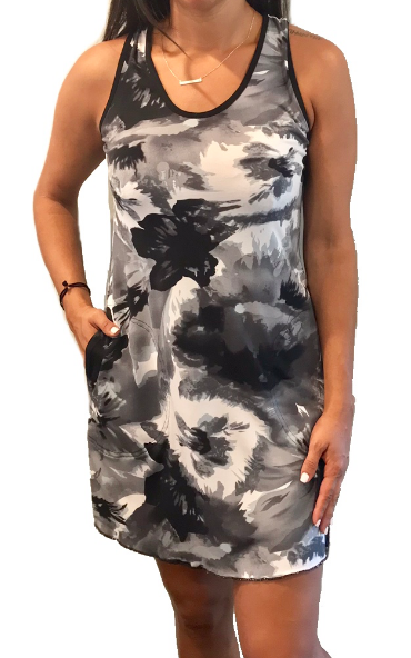 Floral Gray Sporty Tank Dress w/ Pockets
