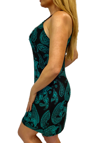 Green Black Paisley Spaghetti Dress