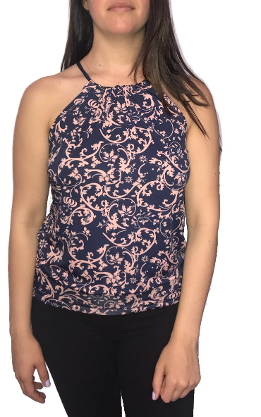 Blush Navy Vine Spaghetti Top