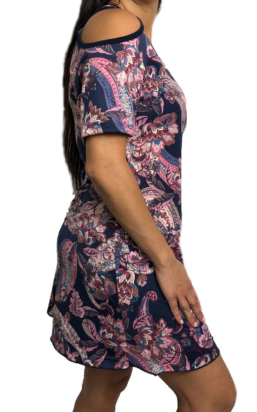 Navy & Pink Floral Paisley Maraca Dress