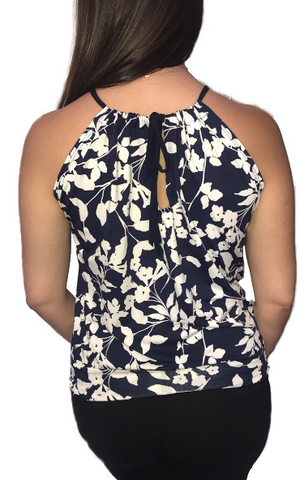 Navy & White Oleander Spaghetti Top