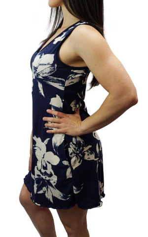 Navy Aloha Sporty Tank Dress w/ pockets