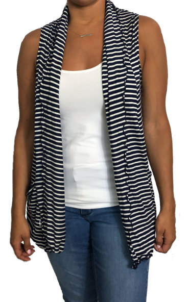 Navy & White stripe Peeka Cardigan Vest