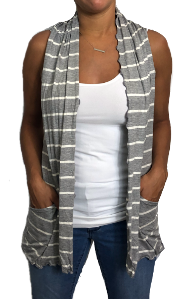 Gray & White Stripe Cardigan Vest