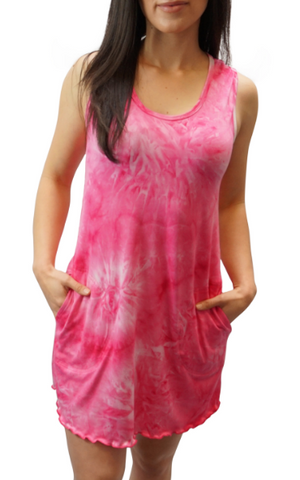 Brushed Raspberry Sherbert Tie Dye Sporty Tank Dress w/ pockets