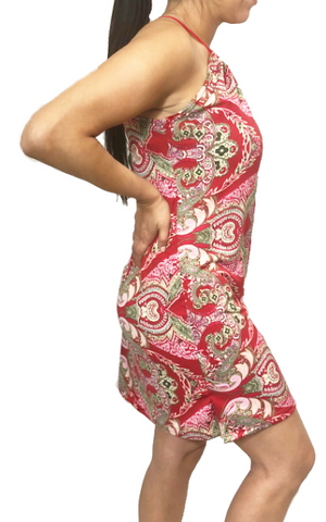 Red Paisley Spaghetti Dress