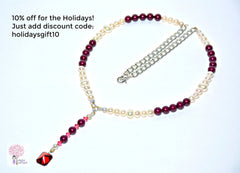 Modern Vintage Red and White Pearl Princess Necklace