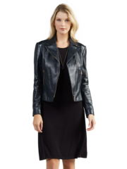 Navy Mollie Leather Jacket