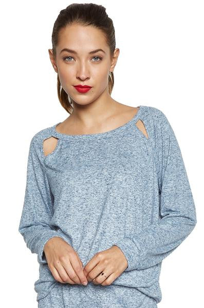 Brendin Long Sleeve Raglan Pullover with Cutouts