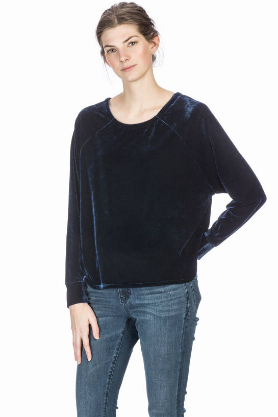 Laced Back Velvet Raglan Top