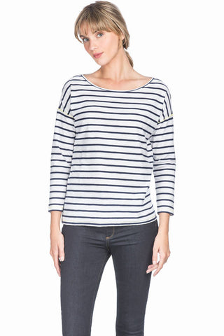 3/4 Sleeve Boatneck Knit Top- Navy Stripe