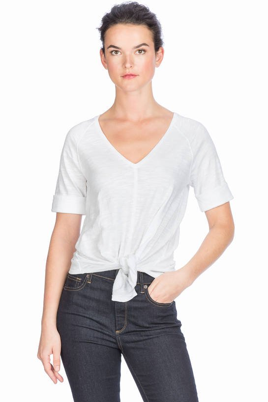 Elbow Sleeve Tie Front Top
