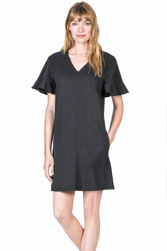 Ruffle Sleeve Shift Dress